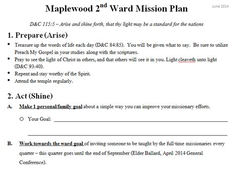 mormon nomrom ward mission plan