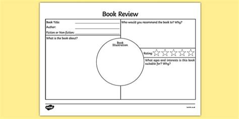 Book Review Of Work By Zigman by Book Review Worksheet Activity Sheet Book Review Book