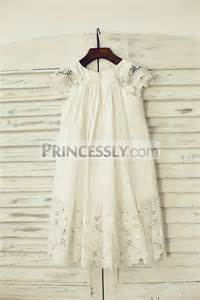 vintage ivory cotton eyelet lace flower dress with