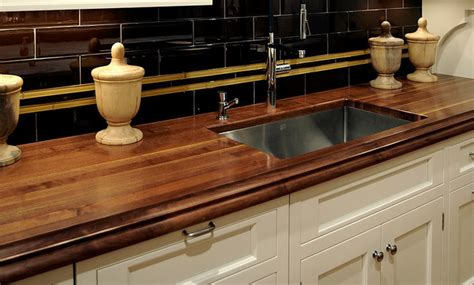 walnut wood kitchen countertop with sink by grothouse