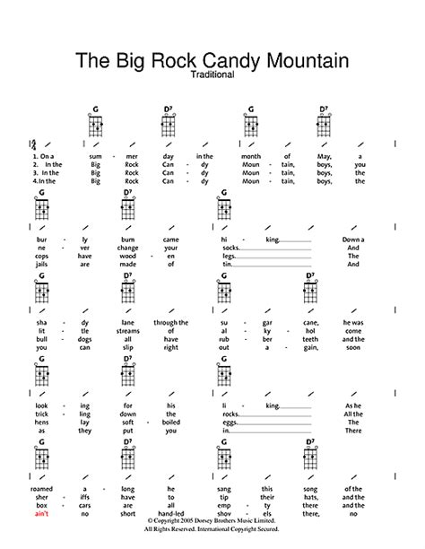 strum pattern for brown eyed girl big rock candy mountain sheet music by traditional