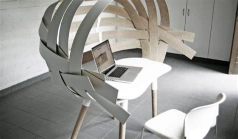 experimental furniture special working place of wooden stripes by bram wonderbrack