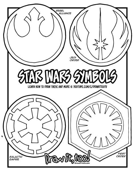coloring pages star wars logo the symbols in the star wars movies draw it too