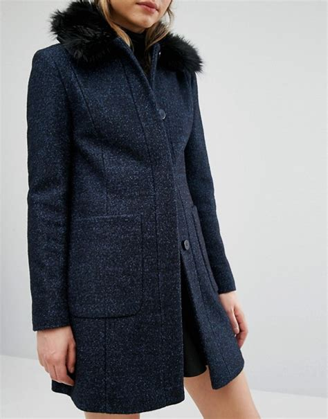 warehouse swing coat faux fur collar coat warehouse fashion women s coat 2017
