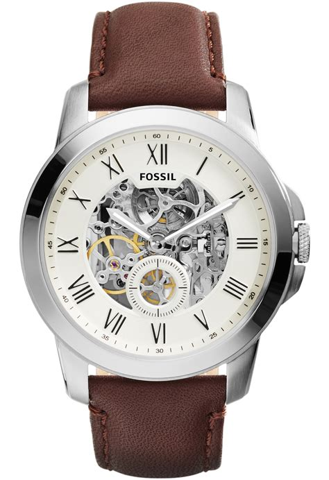 Jam Tangan Fossil Me 3099 Grant Automatic Brown Leather montre grant automatic cuir marron me3052 fossil marron montres co
