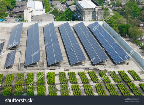 rooftop solar panel green roof stock photo 626688635