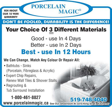 fibreglass bathtub repair porcelain magic opening hours 3310 king st e