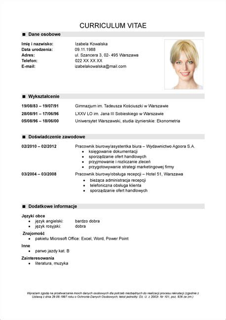 Resume Or Curriculum Vitae Sles by Cv Wz 243 R Do Pobrania Curriculum Vitae