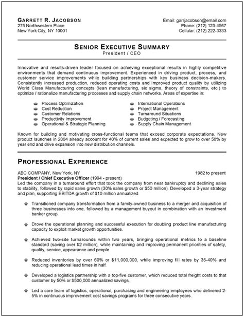 executive summary resume exle best executive resume templates sles recentresumes