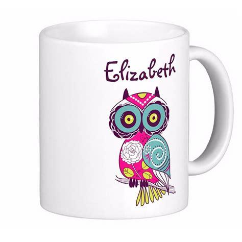 Mug Tea Custom colorful ornate floral owl custom name white coffee mugs