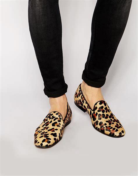 leopard skin loafers asos loafers in leopard skin effect in black for lyst