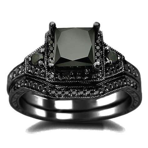 black bridal sets 2 01ct black princess cut engagement ring wedding set 14k black gold rhodium plating