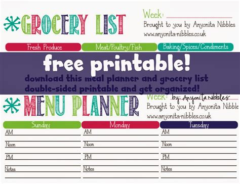 printable meal planner with grocery list anyonita nibbles gluten free recipes free grocery list