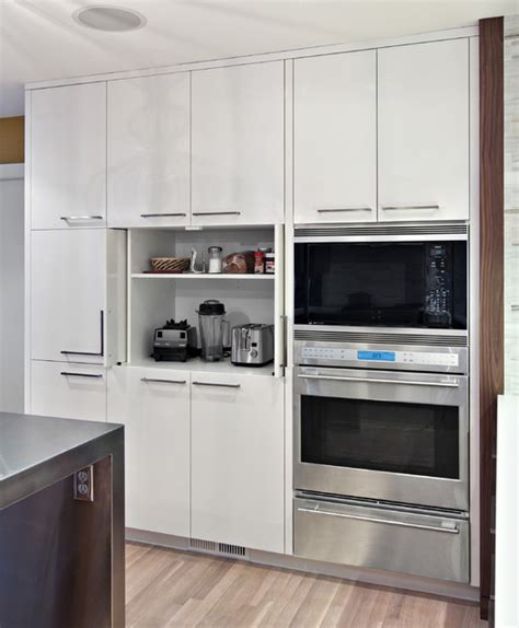 appliance cabinets kitchens sleek appliance garage contemporary kitchen