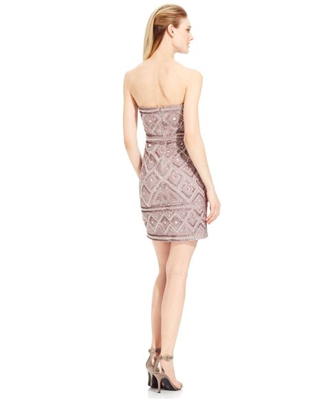 beaded shift dresses papell strapless beaded shift dress in brown lyst