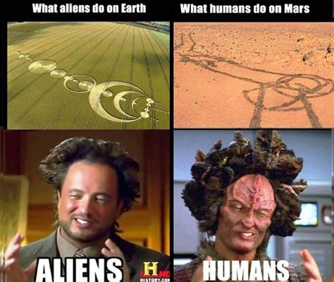 Alien Guy Meme - aliens on earth vs humans on mars ha tea n danger