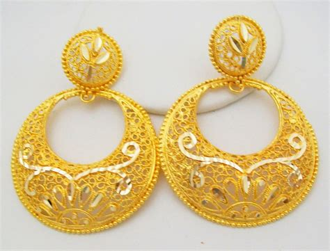 22k gold earrings designs traditional chand bali design hoop earrings filigree 22k