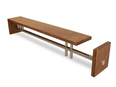 steel and wood bench rotsen l bench reclaimed wood and stainless steel mid