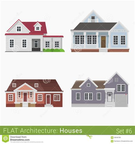 home design elements virginia flat style countryside buildings set stock vector image