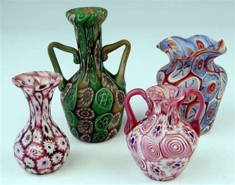 Millefiori Vase by Set Of Four Murano Vintage Glass Vases Millefiori C