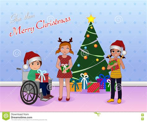 share christmas for special needs children stock vector