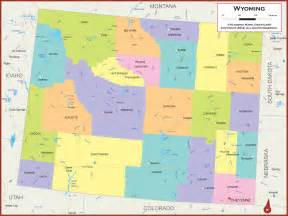 state pictures wyoming wall map political