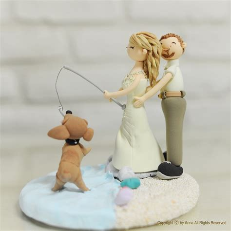 fly fishing wedding cake topper fishing at lake theme custom wedding cake topper