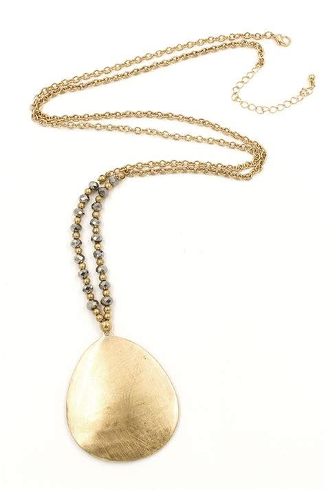 faceted bead metal teardrop pendant faceted bead metal teardrop pendant necklace necklaces
