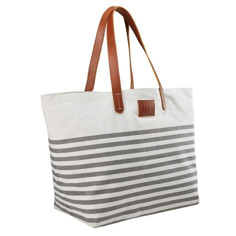 sac de plage en coton 233 gris et blanc rivage maisons du monde