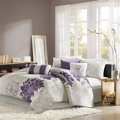 purple bedroom comforter sets beautiful 7 pc floral print comforter set king queen