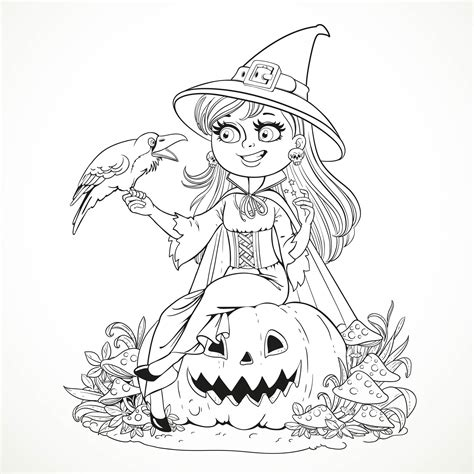 halloween coloring pages of witches beautiful witch sitting on a pumpkin and talking to a