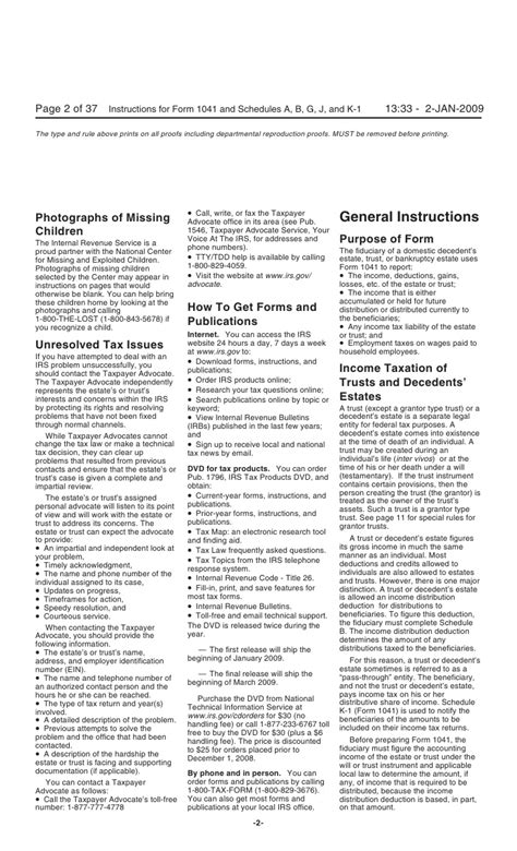 for form 1041 u s income tax return for