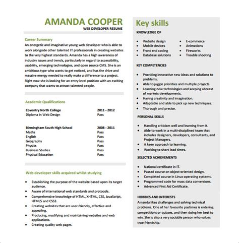 Web Developer Resume by 11 Web Developer Resume Templates Doc Pdf Free