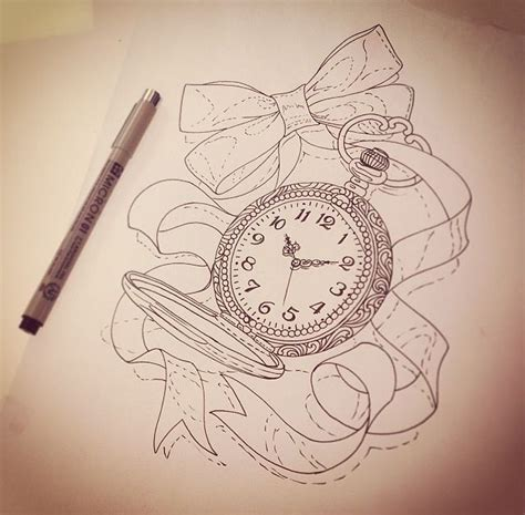 pocket watch with ribbon tattoos pinterest