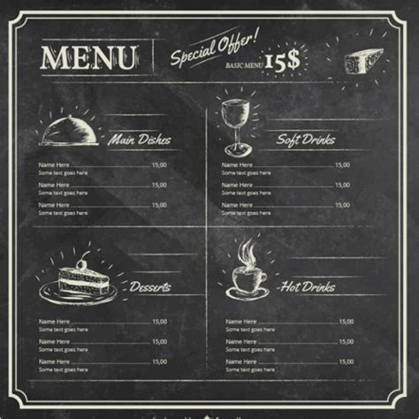 25 chalkboard menu templates free word menu card designs