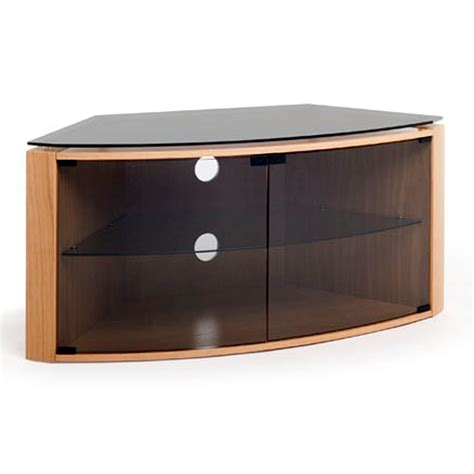 Glass Tv Cabinets With Doors Techlink Bench B6lo Light Oak Corner Tv Stand For Up To 55 Quot Tvs With Glass Door