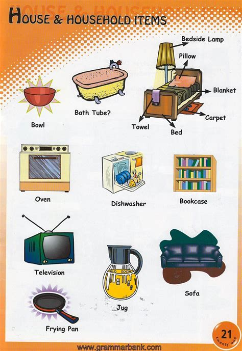household items vocabulary for