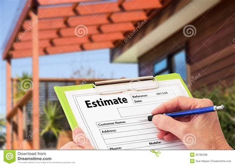 building a house estimate hand writing an estimate for home building renovat royalty
