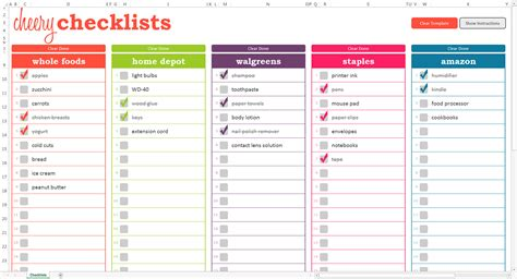 checklist template cheery checklists excel template savvy spreadsheets