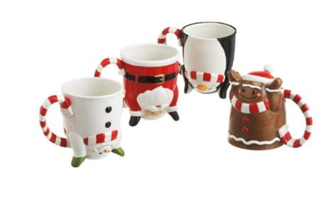 Set of 4 Whimsical Santa Claus Penguin Snowman Gingerbread Christmas Mugs   Mr. Donut Room