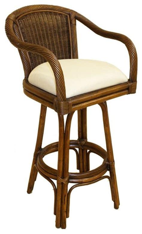 tropical style bar stools indoor swivel rattan wicker 30 in bar stool