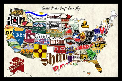 united states of america usa large wall map poster united states craft wall map poster of breweries