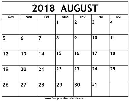 august 2018 calendar free printable calendar.com