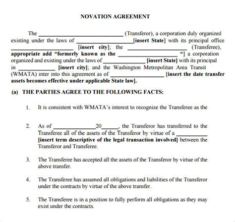 logo contract template novation agreement 6 free pdf doc