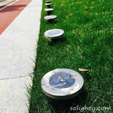 3 led solar powered ground lights outdoor waterproof