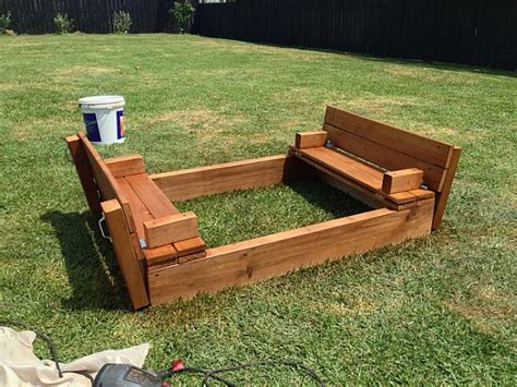 wooden sandbox with bench kids diy sandbox how to make one in the backyard