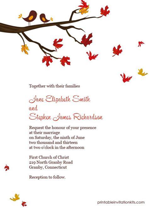 Autumn Lovebirds Invitation Wedding Invitation Templates Free Fall Templates
