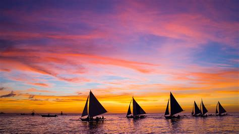 sailing boat in the sea sailing boats in the sea at sunset boracay philippines