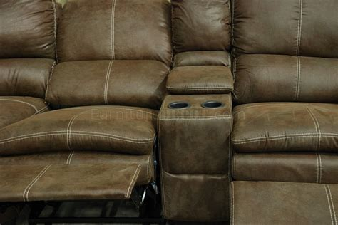Rustic Reclining Sofa Rustic Brown Microfiber Modern Reclining Sectional