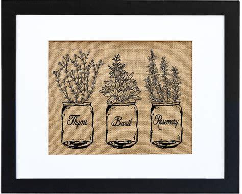 quot jar of kitchen herbs quot burlap wall farmhouse